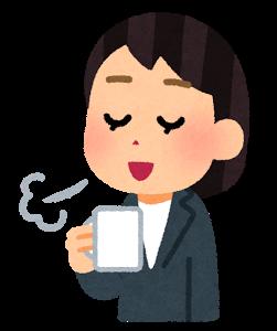 コーヒーを飲む女性、イラスト